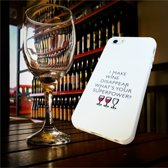 Apple Iphone 7 Plus / 8 Plus Wit siliconen hoesje (I make wine disappear whats your superpower?)