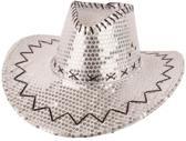 Cowboyhoed met pailletten zilver  Western   carnaval  feest  Hoed  Cowboy