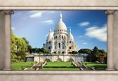 Fotobehang Paris Sacre Coeur Window View | L - 152.5cm x 104cm | 130g/m2 Vlies