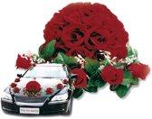 Rode bloemstukken voor de auto - Bruiloft/huwelijk - Bloemstukken - Trouwauto versiering