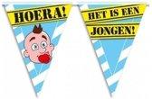 3x Geboorte vlaggenlijn / slinger jongen waarschuwingsbord 10mtr