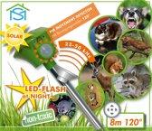Solar marter- en dierenverdrijver met ultrasoon geluid+flistlicht