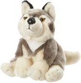 Pluche zittende wolf knuffel 18 cm