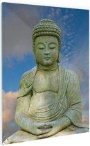 Stenen Boeddha Glas 40x60 cm - Foto print op Glas (Plexiglas wanddecoratie)