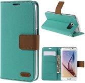 ROAR - Samsung Galaxy S6 Hoesje - Wallet Case Denim Turquoise