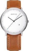 BERING 11139-504 - Horloge - Leer - Zilverkleurig - Ø 39 mm
