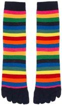 Bonnie Doon  - Dames - Teensokken  - Colourful Stripe Toe Sock  - Donker Blauw/Light Navy/Everglade - Maat 36-42