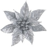 1x Kerstboomversiering op clip zilveren glitter bloem 15 cm - kerstboom decoratie - zilveren kerstversieringen