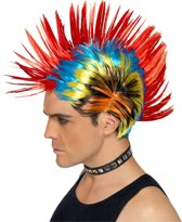 Veelkleurige punk pruik voor volwassenen - Hanenkam Mohawk Punker