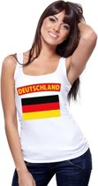 Singlet shirt/ tanktop Duitse vlag wit dames M