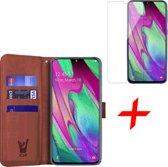 Samsung Galaxy A40 Hoesje + Screenprotector Case Friendly - Book Case Portemonnee - iCall - Bruin