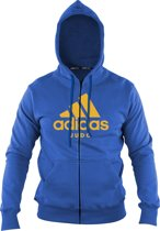 Adidas-hoody met rits   blauw-oranje   maat M