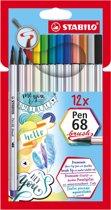 STABILO Pen 68 Brush Viltstiften - Etui 12 kleuren