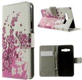 Samsung Galaxy A3 Lederen Wallet Flip Case Hoesje Bloesem - type/bouwjaar telefoon 2015