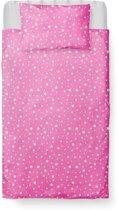 Dekbedovertrek Ledikant - Katoen - 100 x 135 - Roze - Little Star Pink incl. Kussensloop