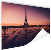 Eiffeltoren bij zonsondergang Parijs Poster 90x60 cm - Foto print op Poster (wanddecoratie)