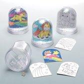 Inkleursneeuwbollen met eenhoorn die kinderen kunnen ontwerpen - Creatieve knutselset voor kinderen (doos van 4)