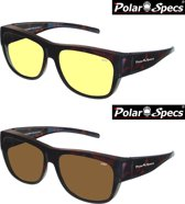 Combinatievoordeel Polar Specs® Overzet Nachtbril + Overzet Zonnebril PS5096 – Tortoise Brown – Polarized – Large – Unisex