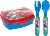 broodtrommel met bestek Cars rood/blauw 3-delig