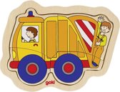 Goki Houten Vormenpuzzel Vuilniswagen 15,5 X 12,5 Cm 4 Stukjes