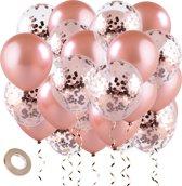Fissaly® 30 stuks Rose Goud Helium Ballonnen met Lint – Decoratie – Confetti – Latex