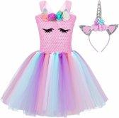 Eenhoorn jurk roze unicorn jurk eenhoorn kostuum maat 128/134*gratis haarband