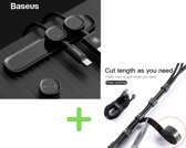Baseus magnetische kabel clips zwart + klittenband rol kabelhouder