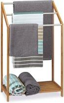 relaxdays - handdoekhouder bamboe - handdoekrek - vrijstaande handdoekenhouder
