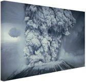 Uitbarsting vulkaan zwart wit Canvas 120x80 cm - Foto print op Canvas schilderij (Wanddecoratie)