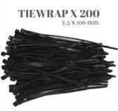 Tie wraps kabelbinders Cable Ties zwart 0.25 x 10 cm