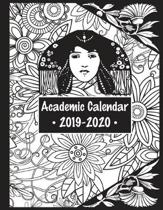 Academic Calendar 2019-2020: Coloring Cover Planner for Women