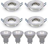 LED inbouwspot - GU10 dimbaar    Zilver (set van 4 stuks)