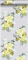HD vliesbehang bloemen en vogels geel - 138123 van ESTAhome.nl