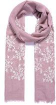 Lange sjaal roze met bloemen gestikt
