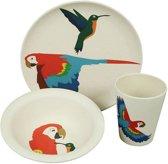 ZUPERZOZIAL - kinderset, HUNGRY PARROT, beker, schaal, bord, gebaseerd op bamboe & maïs, print papegaai