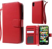 2-in-1 Wallet Case - Iphone X/XS Hoesje - Rood - Crazy Horse