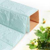 Stickerbehang baksteen- Waterdicht foam behang- Naadloos - Foam wandbekleding- 3d effect - lichtblauw