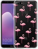 Huawei Y7 2018 Hoesje Flamingo