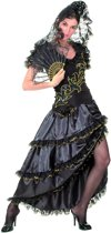 Flamenco danseres dames zwart en goud - Verkleedkleding - Medium
