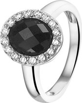 The Jewelry Collection Ring Onyx En Zirkonia - Zilver Gerhodineerd