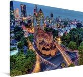 Verlichting in de Vietnamese stad Ho Chi Minhstad Canvas 60x40 cm - Foto print op Canvas schilderij (Wanddecoratie woonkamer / slaapkamer) / Aziatische steden Canvas Schilderijen