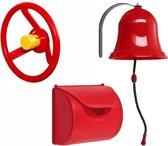 Pakket rood 1, met een brievenbus, een autostuur en een bel