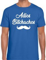 Adios bitchachos tekst t-shirt blauw heren - blauw heren fun shirt Adios bitchachos S
