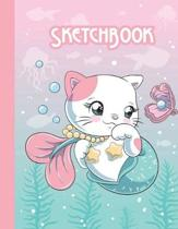 Sketchbook: Cute Blank Notebook for Sketching and Picture Space with Kawaii Mermaid Cat, Unlined Paper Book for Drawing, Journalin