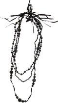 Lange zwarte ketting dames met facet geslepen kralen met verschillend formaat en strik