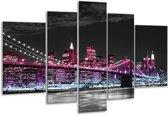 Glasschilderij Brug | Zwart, Wit, Paars | 170x100cm 5Luik | Foto print op Glas |  F001852