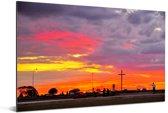 De Braziliaanse hoofdstad Brasilia in Zuid-Amerika bij zonsondergang Aluminium 60x40 cm - Foto print op Aluminium (metaal wanddecoratie)