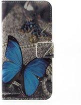 Huawei P10 Telefoonhoesje Blauwe Vlinder met Opbergvakjes