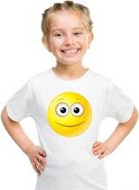 Smiley/ emoticon t-shirt vrolijk wit kinderen XL (158-164)