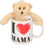 I love mama cadeau mok / beker met knuffelbeer - Moederdag - 300 ml